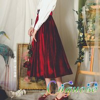 2021 Weibliche Retro- Mode Vintage Französisch Samt Hohe Taille Lange Midi Damen Rock + Gürtel Frauen Röcke