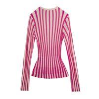 Twotwinstyle Casual listrado Wememan Sweathere V Neck Manga Longa Túnica Bateu Cor Sweater para Feminino Moda Primavera Roupa Novo 201204
