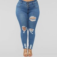 4XL Plus Size Jeans For Women Highwaist Skinny Ripped Torn D...