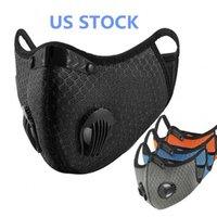 US-amerikanische Aktien-New-Rad-Schutz-Gesichtsmasken mit Filter schwarz Aktivkohle PM2.5 Staubsport Laufraining Rennrad wiederverwendbare Masken