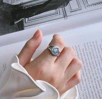 Anel Minimalista de Rosto Humano Anel de Noivado Feminino 925 Esterlina Prata Redonda Escultura Coréia Creative Anéis 0245