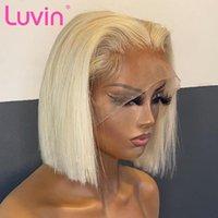 LUVIN 613 parrucche anteriori in pizzo bionda per donne nere dritte capelli brasiliani capelli umani corti bob ombre pizzo parrucca frontale precipitato
