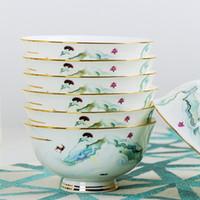 60pcs Europe Design Bone Chine Vaisselle en céramique Vaisselle de Vaisselle en Céramique Chine China Gold Tink Vaisselle Ensemble de style moderne et de comcise