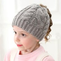 Chapeau de queue de cheval noué pour les filles Enfants Hiver Cap Toddler Bonnet Filles Chapeau d'hiver Chaud Soft Soft Beanie Ponye Bonnets H196S1