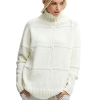 Damen Freizeit Lose Winter Casual Cowl Hals Pullover Weibliche Strickdrucken Langarm Tops1