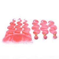 페루 핑크 인간의 머리카락 4 번들 정면 바디 웨이브 순수 핑크 레이스 정면 클로저 13x4 버진 헤어 짜다 확장