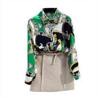 Frühling Herbst Womens Print Blusen Mode Lose Große Größe Retro Kette Bluse Langarm Chiffon Hemd Frauen GD232