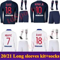 20 21 파리 남자 키트 긴 소매 축구 유니폼 2020 2021 MBappe Icardi enfant Maillot de 발 유니폼 성인 Cavani Verratti 축구 셔츠