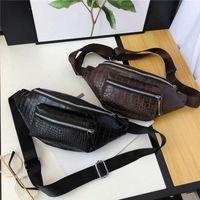 Männer Hohe Qualität PU-Leder Taille Pack Brieftasche Telefon Beutel Alligator Druck Business Gürteltasche Reißverschluss Geldbörse Black Black Brown