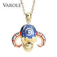 Varole Colorido 3D Esmalte de esmaltees Collares Colgantes Collares Collar Mujeres Esmalte Skull Vintage Choker Declaración Collar