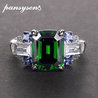 PANSYSEN New Luxury Natural Emerald Gemstone Rings For Women...