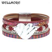 Tennis Braccialetti in pelle wellmore per donna magnete cuore Braccialetti Elegante multistrato braccialetto largo braccialetto di moda gioielli di moda1