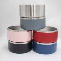 أطباق الأطباق غير زلة الأطباق 32 أوقية الفولاذ المقاوم للصدأ الكلب السلطانية للحيوانات الأليفة المضادة للسقوط ودائم طبقة مزدوجة الفولاذ المقاوم للصدأ وجبة الحيوانات الأليفة عاء EEA2202