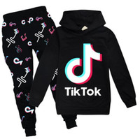 Tik Tok Set per Big Boy Girl Tracksuit Vestiti Autunno Inverno Tiktok Kid Felpa con cappuccio + Stampa Pant 2 Pc Outfit Bambini Sport Suit