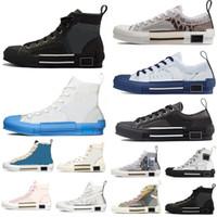 2021 Designeur Femmes Sneakers Obliques Hommes Cuir Technique High Basse B23 Fleurs Plateforme Plate-forme Personal Casual Hommes Chaussures Vintage avec boîte
