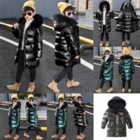 X2TG Croal Cherie Теплая утка вниз по девочкам Девушки Мальчики Зимний енот с капюшоном Куртка куртка меховой детский костюм комбинезон для мальчиков ребенка