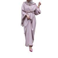 Kadınlar için Dubai Abayas Müslüman Giyim Bornoz Bandaj Elbise İslam Kaftan Açık Ön EID Arapça Vestidos