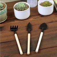 Mini outil de jardinage portable poignée en bois tête en métal pelle râteau de bonsai outils pour fleurs plantes 3pcs / set yhm299