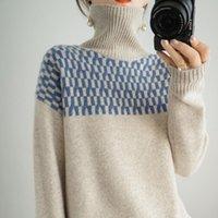 Pulls pour femmes 100% laine Pull en cachemire Automne / hiver 2021 Chaud col doux à manches longues à manches longues à manches longues