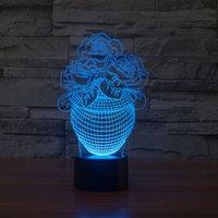 2021 New Rose Floral Light Designs Lampe Enfants Lampe romantique Éclairage de nuit 7 Couleur Changement de couleurs lumières LED pour la décoration de la maison Zej0