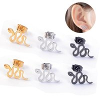 Stud 1Pair Punk Metal Small Snake Animal Earrings For Women Simple Stainless Steel Earring Party Fashion Jewelry E321