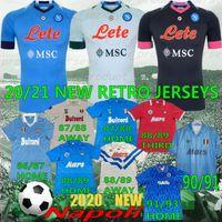 레트로 Maradona 축구 유니폼 Napoli 2021 koulibaly osimhen insigne mertens Hlozano 나폴리 남자 T 축구 셔츠 Camiseta 유니폼