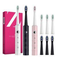 Potenti spazzolini da denti elettrici super sonici ad ultrasuoni per adulti bambini intelligente timer ricaricabile Sbiancamento spazzolino da denti IPX7 con 3 teste di pennello