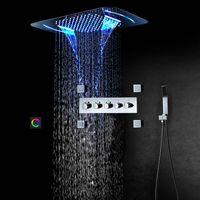38 ° C 온도 조절 황동 샤워 수도꼭지 세트 비 샤워 헤드 크롬 LED 샤워 헤드 욕실 샤워 시스템 마사지 분무기