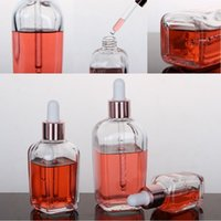 10 à 100 ml de bouteille carrée Rose Gold Colors Capuchon Capuchon Eliquid Bouteilles Maquillage Groutlettes de verre Cosmétique Outils de stockage Clair Verre 1 15YX5 G2