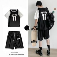 E-Baihui 2020 Men's Summer Short-sleeved Suit, Letter Printed T-shirt Sports Casual Wear Two-piece Loose Shorts JKS598