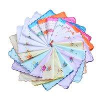 여성 손수건 100 % 코 튼 꽃 hankie 꽃 수 놓은 손수건 다채로운 숙녀 포켓 타월 웨딩 파티 호의 169 G2
