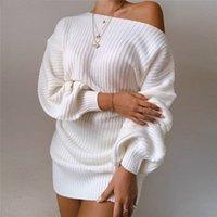 Трикотажные платья свитера для женщин осень зима свободно от без бретелек рождественские рождественские платья 201126