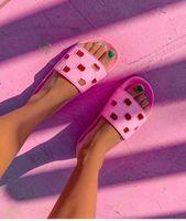 Pre-Otoño 2019 Para mujer Corte de goma Sandalias Sandalias Chicas Piscina Deportiva Pisos Zapatillas Mules Tamaño Euro 35-41