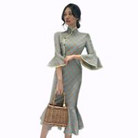 النساء فساتين شيونغسام عطر صغير الرياح البوق كم اللباس مزاجه تنانير ذيل السمكة الشعبية