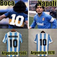 Beste Qualität auf Lager 1978 1986 1986 Argentinien Diego Maradona Napoli Home Fussball Jersey Retro-Version Neapel 86 78 Boca Juniors Fußball-Hemd