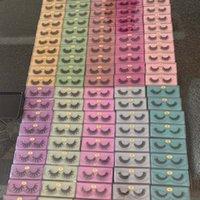Caja de brillo colorido Venta al por mayor Mink Synthetic Lestres Belleza Maquillaje Phajas Volumen Faux Cils Fake Lashes Peaches Seda Pestañas