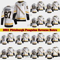 Pittsburgh Penguins 2020-21 Reverse Retro Jersey 87 Sidney Crosby 66 Mario Lemieux 71 Evgeni Malkin 58 Letang 59Jake Guentzel Hockey Jerseys