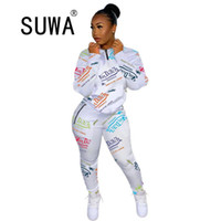 Jogger Frauen Trainingsanzug Zweiteiler Set Langarm Chic Printed Sweatshirt Top und High Taille Sport Hosen Casual Outfits