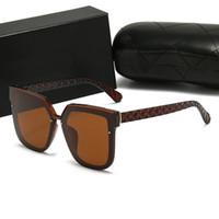 여름 고품질의 유명한 선글라스 대형 플랫 탑 숙녀 태양 안경 체인 여성 사각형 프레임 패션 디자이너 포장 상자 쉐이드 Sonnenbrillen