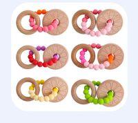 لعب الطفل الخشب الدائري سيليكون حبة temers الدائري الرعاية الصحية مقال ل الرضع اليد الاستيلاء ممارسة اللعب حبة ملونة مهذري