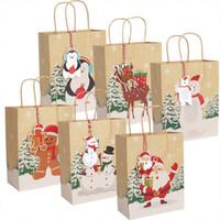 Bolsas de regalo de Navidad Bolsa de papel de Santa Kraft con mango y etiquetas Regalo Paquete de caramelo Decoración de Navidad Suministros de fiesta JK2011KD