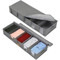 Unter Bett Aufbewahrungsboxen Kleiderschrank Organizer Vliesstoff 5 Gitter Aufbewahrungsbox Geeignet zum Speichern von Kleidung Socken BH Toys Decken