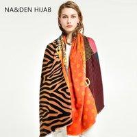 Шарфы леопардовый узор исламский шарф вискоз мусульманский хиджаб зимний длинный глушитель твердого шалws hi-q женские обертывания 7шт / лот1