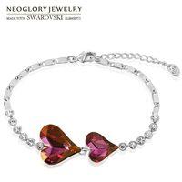 Neoglory Autriche Crystal Czech Strass Charm Bracelet Love Heart Design Style élégant pour femme cadeau romantique Y1119
