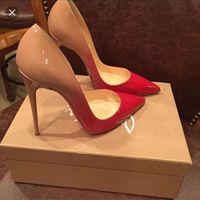 Free Shippin Stiletto Heel Brand Red Botting Sexy Woman Vestido Zapatos Sandalias Zapatos de boda de tacón alto punteado Moda de punta de un solo tacón alto 34