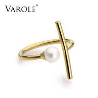 Varole Minimalist Line And Shell Pearl Rings Регулируемый размер Золотой Цвет MIDI Кольца для Женщин Нержавеющая Сталь Кольцо Анел