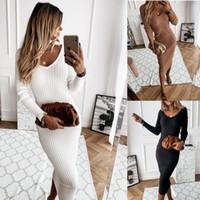 Frauen Kleider Kleidung Plus Größen Kleid Weibliche Langarm V-ausschnitt Gestrickte Bleistift Kleid Jumper Lange Damen