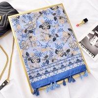 Nuovo design Alla moda tribù Blu e Bianco in porcellana stampa in porcellana in cotone e lino sciarpa sciarpa scialle da donna Ponch con frangia Tassel1