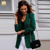 Ternos femininos blazers 2021 Adicionar mulheres top outono de manga longa cardigan blazer cor sólida casaco lady short