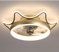 Modern minimalist ceiling fan light crystal decorative LED remote control lighting bedroom fan lamp AC220V 110V